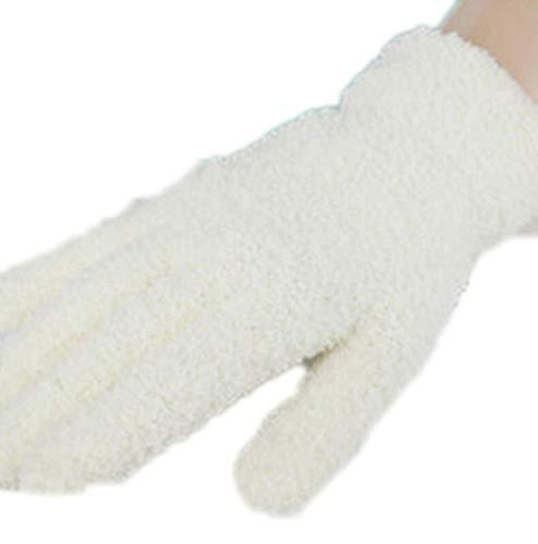 Damen Halbfinger-Handschuhe aus Fleece, Dicker Klappkappe, Massive Fäustlinge, Winter-Keyboard-Handschuhe, Damen, G038 Full White, Einheitsgröße