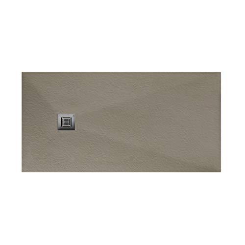 Plato de ducha rectangular de 120 x 80 x 3 centímetros, con válvula de desagüe, colección Suite N, color gris oliva (Referencia: 6348229)