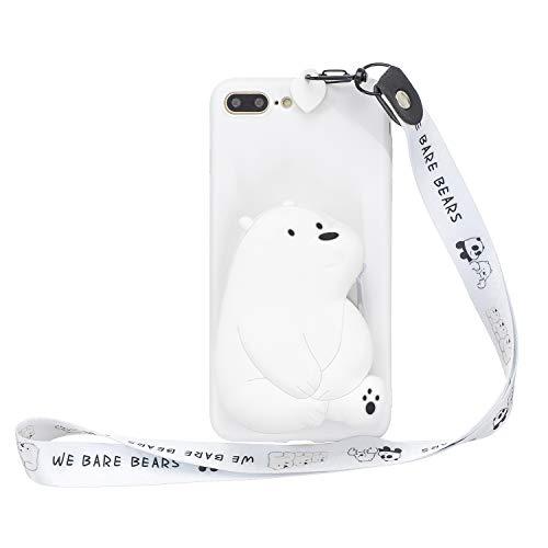 Everainy Compatibel met iPhone 7 Plus / iPhone 8 Plus Case Silicone Case portemonnee Phone Case 3D rubber met band schokbestendig TPU gel bumper Cover (Groen Rat), iPhone 7 Plus/iPhone 8 Plus, weißer Bär