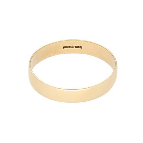 Jollys Jewellers Alianza de boda para hombre, oro amarillo de 9 quilates, con forma de D, 3 mm de ancho