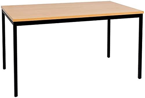 furni24 Schreibtisch Homeoffice Seminartisch 120 cm x 80 cm x 75 cm schwarz/buche Verschiedene Größen schöner Stabiler PC-Tisch mit viel Beinfreiheiten…