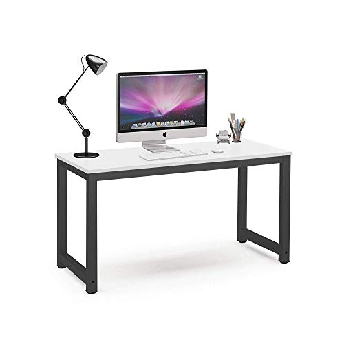 Gaming Desk Movable Home Study Table Furniture Modern Computer Desk Made of Wooden and Anti Rust Paint Steel Frame for Office Outdoor Gaming Room (White With Black Leg)
