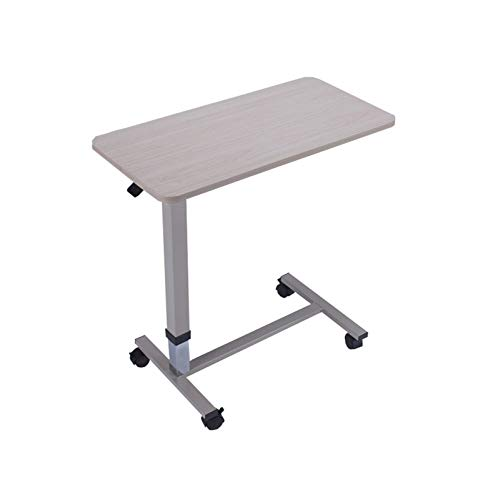 FGYUI Wheels Side Table, Tilting Height Adjustable Overbed Lapdesk Bed Side Table (Color : Beige Hydraulic Cylinder Lifting)