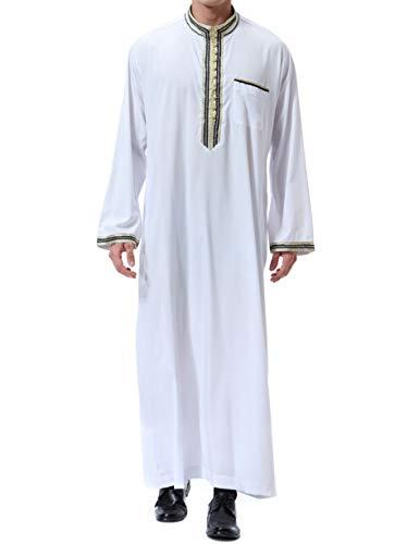 Qianliniuinc Abito Vintage Kaftani Lunghi Long Dress-Vestito Arabo Abbigliamento Musulmano Uomo Abaya Dubai (Bianco,L)
