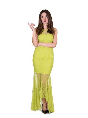 Lange jurk van kant met transparante inzetstukken, asymmetrische jurk kort voor en achter, PE 2018, art. W82K32K70L0.