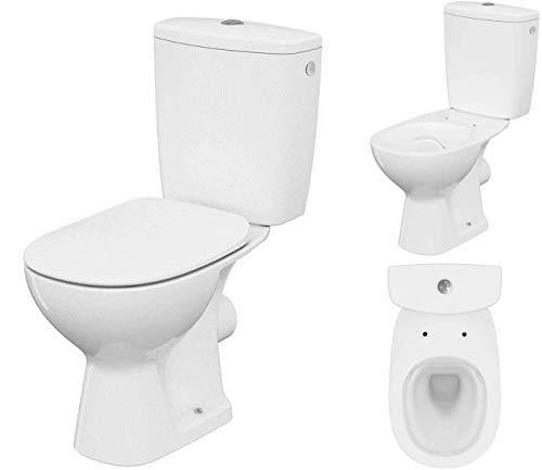 VBChome Keramik Stand- WC Toilette Komplett -Design- Set mit Spülkasten WC- Sitz aus Polypropylen mit Absenkautomatik SoftClose-Funktion für waagerechten Abgang Wasseranschluss Spülrandlos