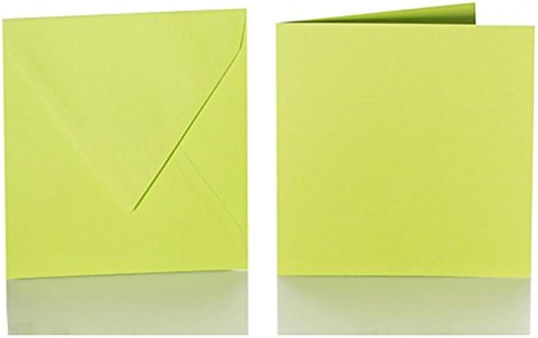 100 quadratische Briefumschläge 140 140 140 x 140 mm. 14x14 cm, 120 g m² mit Dreieckslasche  100 passende Faltkarten 135 x 135 mm, 240g, Farbe  28 Apfelgrün B015PKBYIG | Shop  1a16a2