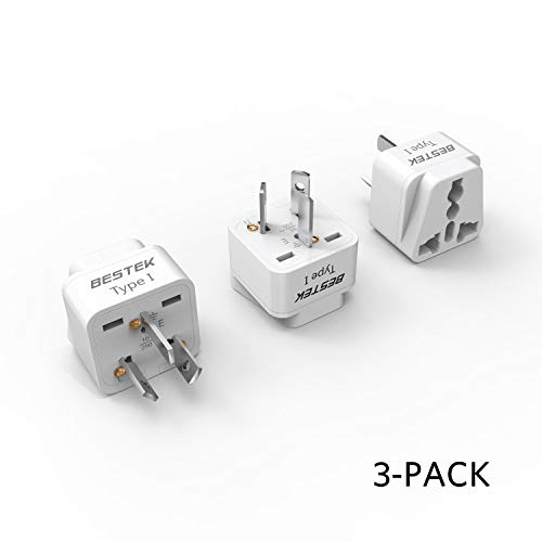BESTEK Australia, New Zealand Travel Plug Adapter, Grounded Universal Type I Plug Adapter AU to US Adapter - Ultra Compact for Australia, New Zealand, China and More, 3 Pack
