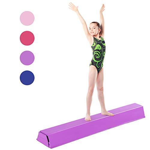 DREAMADE Schwebebalken Gymnastikbalken 117 cm, Training Balance Beam für Kinder sowie Erwachsene (Lila)