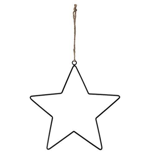 Metalen hanger ster met jute koord – zwart – Kerstmis – raamdecoratie – 1 VE = 4 stuks – elk ca. 28 cm - A34973-074 zwart