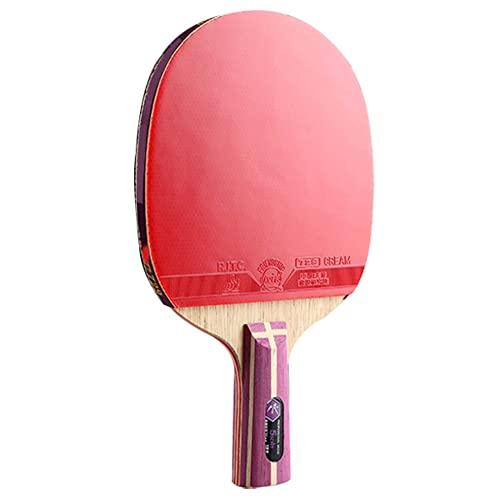 LINGOSHUN Paleta de Ping Pong,Madera de 7 Capas,Raquetas de Tenis de Mesa Profesional Aprobada por la ITTF,Gran Efecto y Control / 5 Stars/Short handle