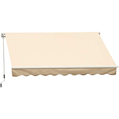 Outsunny 13′ x 8′ Manual Retractable Sun Shade Patio Awning with Durable Design & Adjustable Length Canopy, Beige