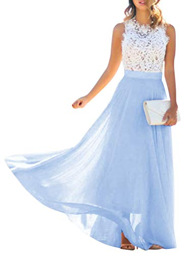 Minetom Blau Weiße Spitze Drapierte Rundhals Ärmellos Elegante Maxikleid Mode Abendkleid Ballkleid B Blau 36