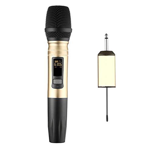 Solustre Micrófono Inalámbrico de Karaoke de 1 Pieza Micrófono Inalámbrico de Mano con Receptor Recargable Micrófono Inalámbrico Dinámico de Metal para Cantar Karaoke Bodas Iglesias