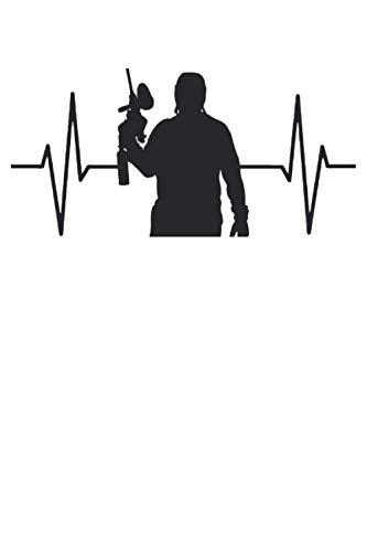 Paintball Spieler EKG Linie Geschenk Notizbuch (Taschenbuch DIN A 5 Format Liniert): Paintball Herzschlag Puls Notizbuch, Notizheft, Schreibheft, ... Geschenk für Paintballspieler Herren Dame