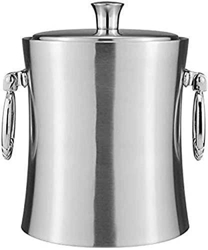 ZRDSZWZ Cubo de hielo confiable con aislamiento de doble pared de acero inoxidable para cubitos de hielo, enfriador de vino y champán con pinzas de hielo y colador de hielo (tamaño: 3 L) (tamaño: 3 L)