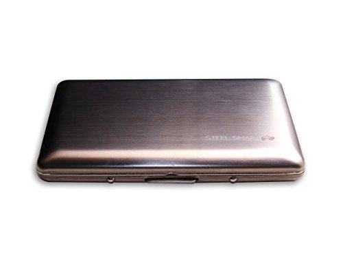 Cartera Ultra delgada de Acero Inoxidable Steel Smart, Estilo Redondeado, Especial para Viajes, Capacidad 6 tarjetas de Crédito o Débito, Unisex, Incluye Caja de Regalo