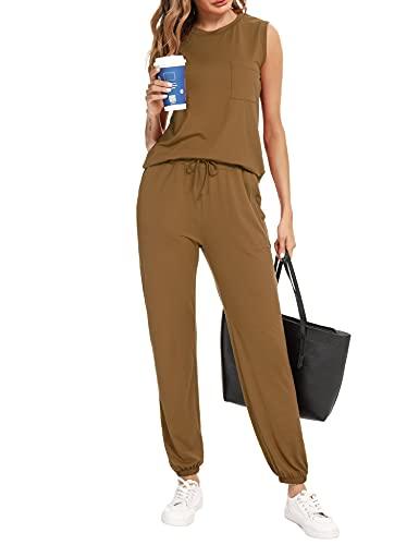 Irevial Conjunto Chándal mujer Completo Camiseta Mujer sin Mangas con bolsillos y Pantalón Chándal deportivo Mujer de casa Dos Piezas para primavera y Verano