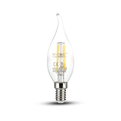 V-TAC SKU.4302 Ampoule LED Flamme Filament 4W E14 VT-1997, Plastique,et Autre materiaux, 4 W, Transparent, Profondeur :121 mm