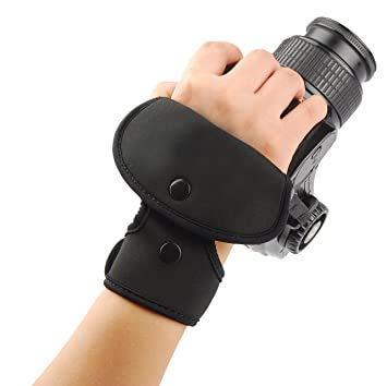 CAMROLITE EF-1 Black Leather Wrist Hand Grip Camera Strap for Nikon Canon Sony Pentax Olympus Panasonic SLR DSLR Cameras (EF1-Black)