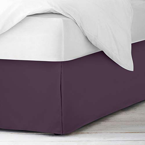 Empyrean Bedding Bed Skirts King Size - King Bed Skirts with 8 Pins - Dust Ruffles King – Microfiber King Size Bed Skirt - King Size Bed Skirts 14 Inch Drop –Purple Eggplant