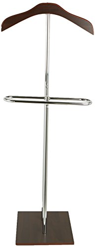 Mind Reader Wood Valet Suit Rack Stand, Stainless Steel