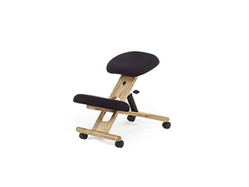 Silla de Oficina Ergonomica, silla de Escritorio, Acabado en Color Negro y Madera de haya, Medidas: 46 cm (Ancho) x 68 cm (Fondo) x 52-62 cm (Alto)