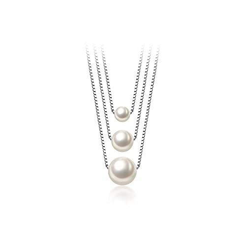 Collar De Mujer Plata,S925 Collar De Perlas Sintéticas Con Cuentas De Una Sola Concha De Temperamento De Plata Cadena De Clavícula Pequeña Para Mujer Joyería De Regalo De Cumpleaños Para Mujer, P