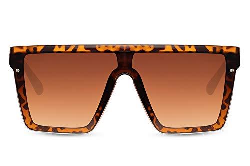 Cheapass Sunglasses Gafas de sol Masivas Oversized XXL Leopard Pantalla Onepiece Brown Lentes degradadas UV400 protegido Hombres Mujeres