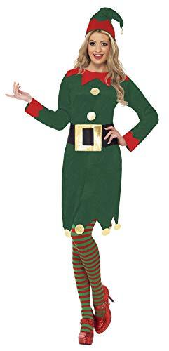 Smiffys-31995L Elf Disfraz de elfa, con Vestido, Gorro y cinturón, Color Verde, L-EU Tamaño 44-46 (Smiffy'S 31995L)