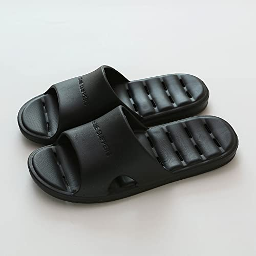 Zapatillas de estar por casa, Zapatillas para Mujeres Y Hombres, Secado Rápido Eva Toe Abierto Soft Ducha Slippers Zapatos De Verano Baño Antideslizante Piscina Piscina Gimnasi(Size:40-42,Color:Negro)