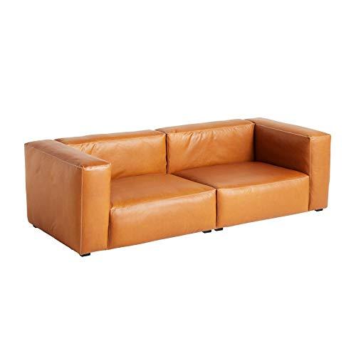 HAY Mags Soft 2,5-Sitzer Sofa Leder 238x103,5x67cm, Cognac weiße Nähte Leder Silk SIL0250 Füße Kiefernholz schwarz gebeizt mit Filzgleitern