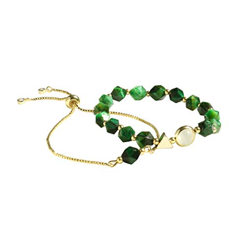2pcs/Set Women Luxury Geometric Green Stone Bracelet Korean Personality Wristband Chain Wedding Party Jewelry Gift.