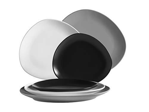 MÄSER 931240 Serie Glendale Teller Set flach 6-teilig für 2 Personen, modernes Tafelservice aus Dessertteller, Frühstücksteller und Speiseteller, matt lasiert Keramik Schwarz/Weiß/Grau