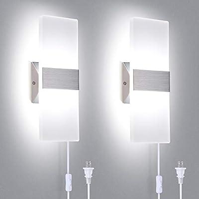 TRLIFE Modern Wall Sconces Plug in, Set of 2