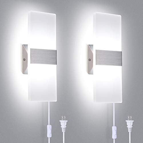TRLIFE Modern Wall Sconces Set of Two, Plug in Wall Sconces 12W 6000K Cool White Acrylic Wall Sconce Lighting with 6FT Plug in Cord and On/Off Switch on The Cord(2 Pack)