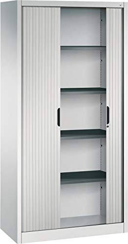 bümö CP Omnispace Rollladenschrank abschließbar inkl. Fachböden - Jalousieschrank Aktenschrank mit Rollladen Büroschrank Lichtgrau RAL 7035, Höhe: 198 cm | Breite: 100 cm
