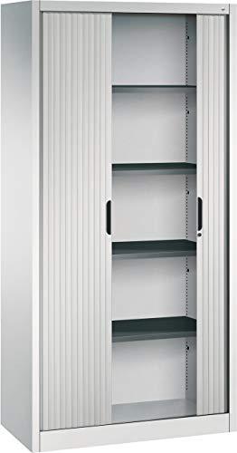 bümö CP Omnispace Rollladenschrank abschließbar inkl. Fachböden - Jalousieschrank Aktenschrank mit Rollladen Büroschrank Lichtgrau RAL 7035, Höhe: 198 cm   Breite: 100 cm