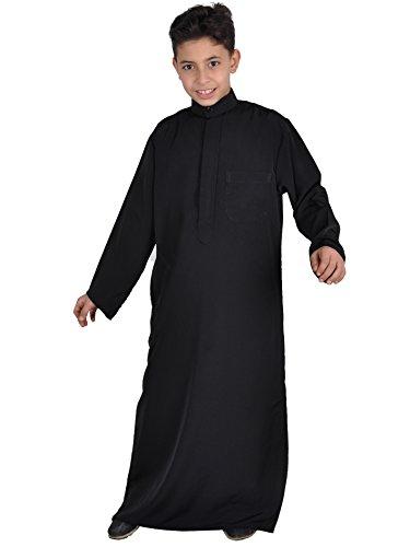 Kinder-Kaftan,Thobe im Saudi-Style, Farbe: schwarz, KK00117 (164)