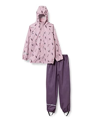 Celavi Mädchen Rainwear-Set with Print Regenjacke, Mauve Shadow, 110