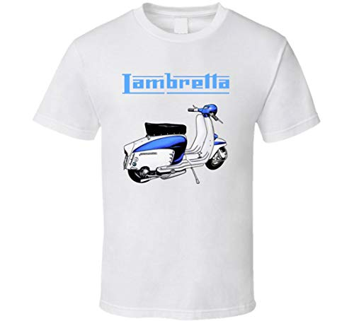 Lambretta Retro Logo and Scooter Mod Italian Vespa Art Style t-Shirt White