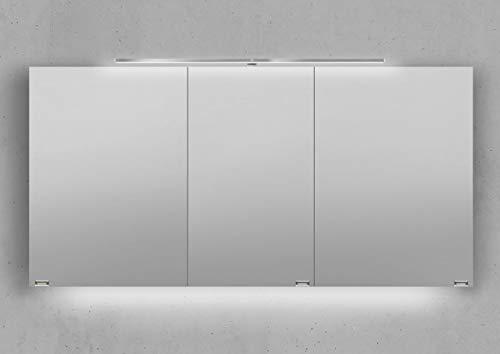 Intarbad ~ Spiegelschrank 140 cm LED Beleuchtung mit Farbwechsel doppelseitig verspiegelt Weiß Hochglanz Lack IB5332