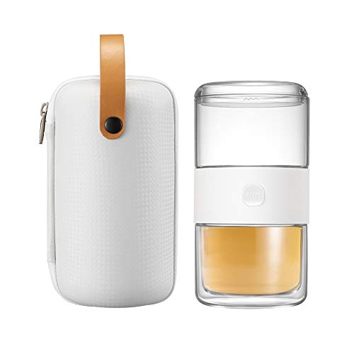ZENS Glass Travel Tea Sets Portable Kung Fu Tea Pot with White Bag,Mini Tea Cup With Tea Infuser for Outdoor