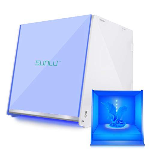 SUNLU Caja Curado Resina, Máquina de Curado UV 405nm con Placa Giratoria, the Cure Adecuado para Modelos de Impresión 3D LCD DLP SLA, Pantalla LCD y Cáscara Bricolaje, Tiempo de Curado Ajustable