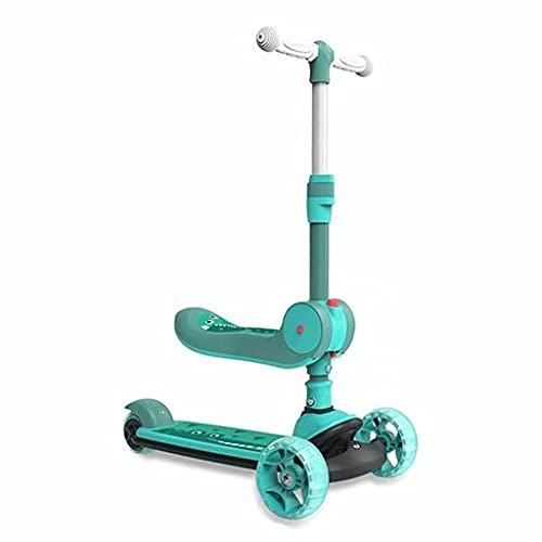 WZWHJ wunderschönen Dreirad-Kinder-Roller 3-Rad-Faltbilanz Dreirad Blitzrad Kinder im Freien Sportspielzeug mit Klappsitz Geburtstagsgeschenk (blau) (Color : Green)