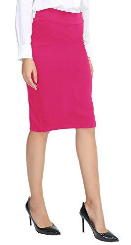 Urban CoCo Women's Elastic Waist Stretch Bodycon Midi Pencil Skirt (XL, Rose)