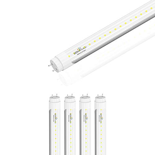 LEDMyplace 4 Foot LED Tube, Double Ended Ballast Compatible, 6500K, Clear Lens, 60Watt Replacement (20W), UL, DLC Certified (Pack of 4)