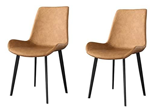 YCJK Sillas de Comedor,sillas tapizadas,Cuero sintético Cubierto,Patas de Metal,sin pérdida de Color,for decoración del hogar,Oficina,salón (Size : 2pcs)