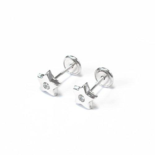 Monde Petit AG-1700 - Pendientes de bebe/niña plata Estrella Circon