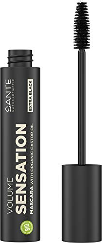 Sante Naturkosmetik Volume Sensation Mascara 01 Black, Sensationelles Wimpernvolumen, Natural Make-Up, Mit Bio-Rizinusöl, Vegan, 12ml